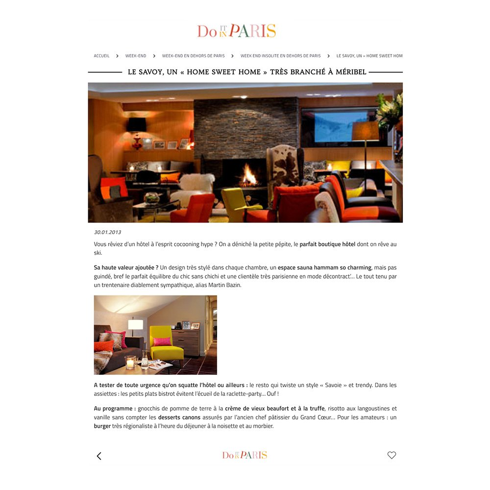 PRESSE DO IT IN PARIS Article HOTEL 4 etoiles stephanie cayet architecture interieure design