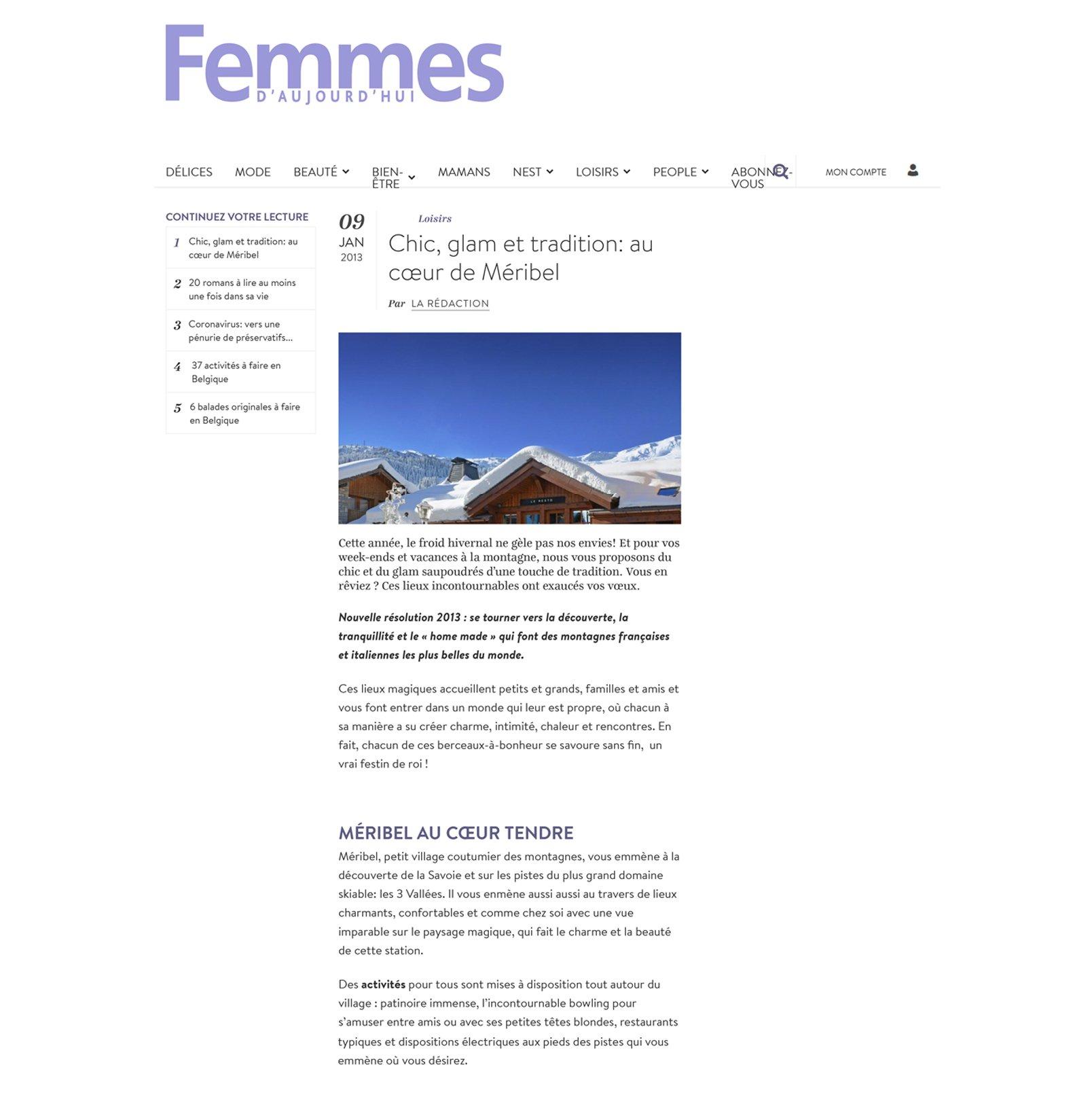 PRESSE FEMME D'AUJOURD'HUI Article HOTEL 4 etoiles stephanie cayet architecture interieure design