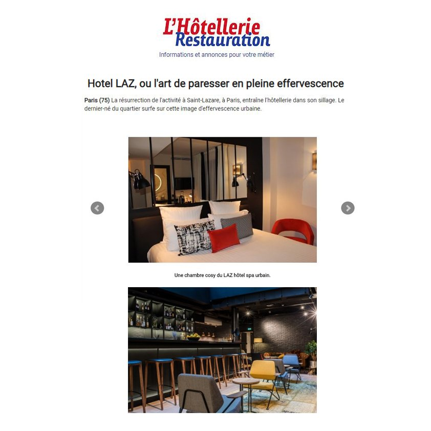 L'HOTELLERIE RESTAURATION Article HOTEL 4 etoiles stephanie cayet architecture interieure design