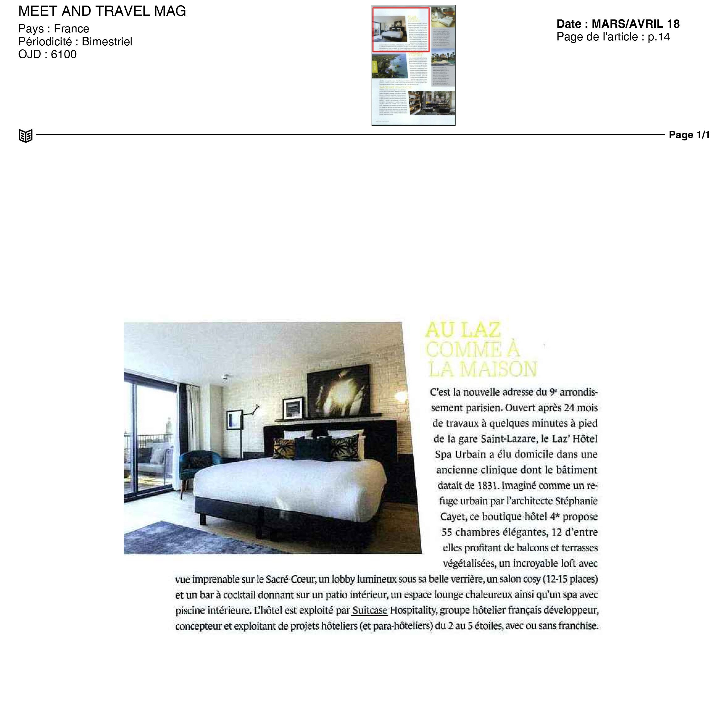 MEET TRAVEL MAG Article HOTEL 4 etoiles stephanie cayet architecture interieure design