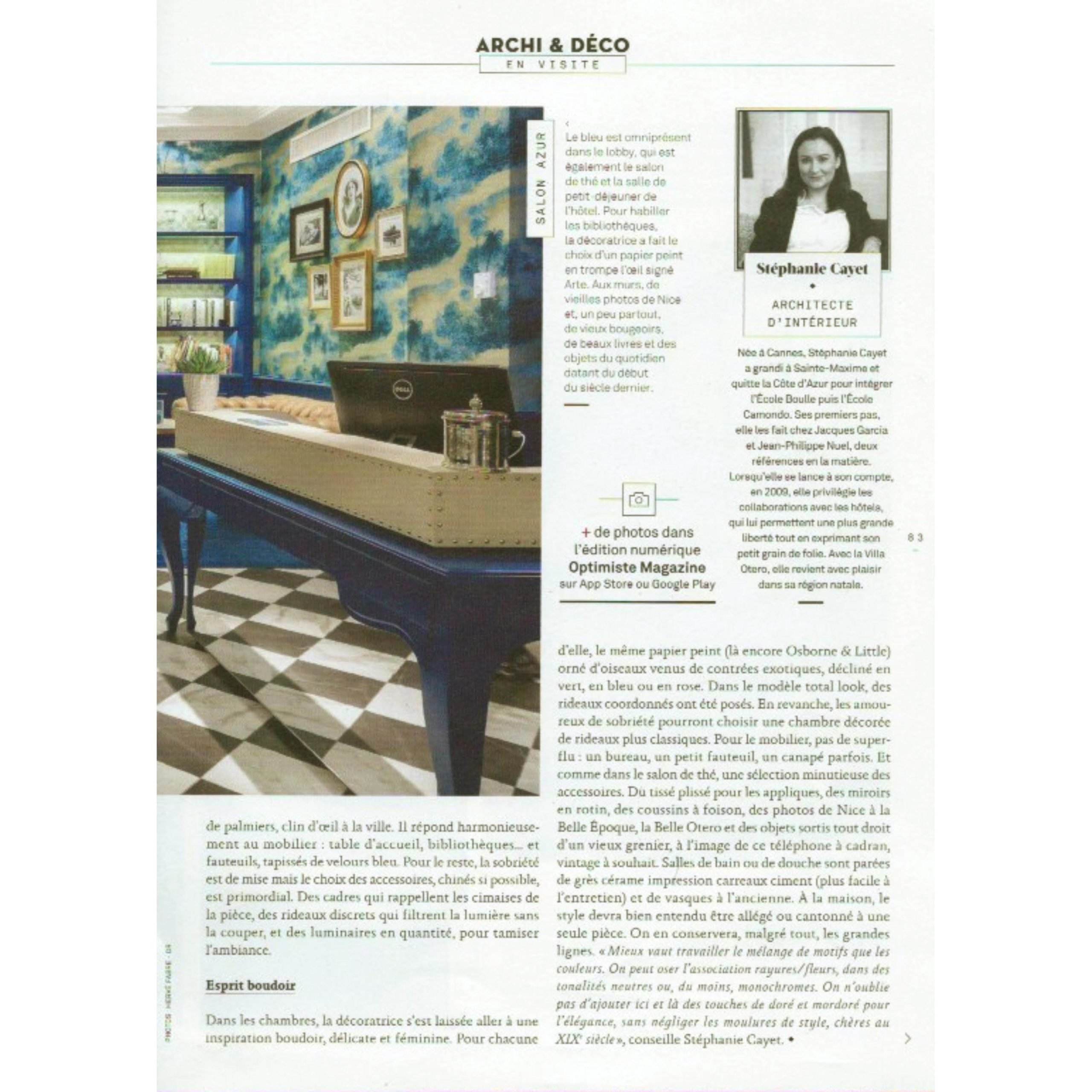 OPTIMISTE MAGAZINE Article HOTEL 4 etoiles stephanie cayet architecture interieure design