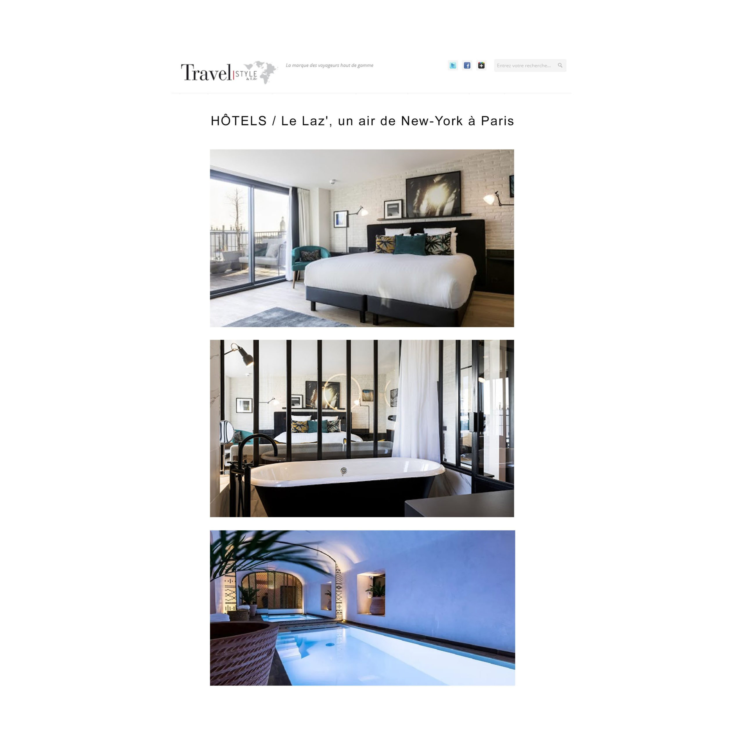 PRESSE TRAVEL STYLE Article HOTEL 4 etoiles stephanie cayet architecture interieure design