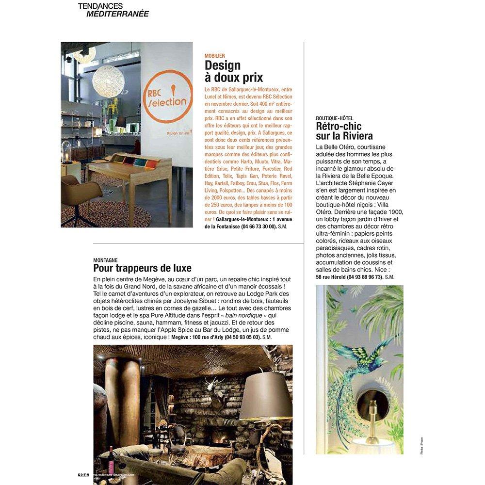 PRESSE TENDANCES MEDITERRANÉE Article HÔTEL 4 étoiles Stephanie Cayet architecture interieure design
